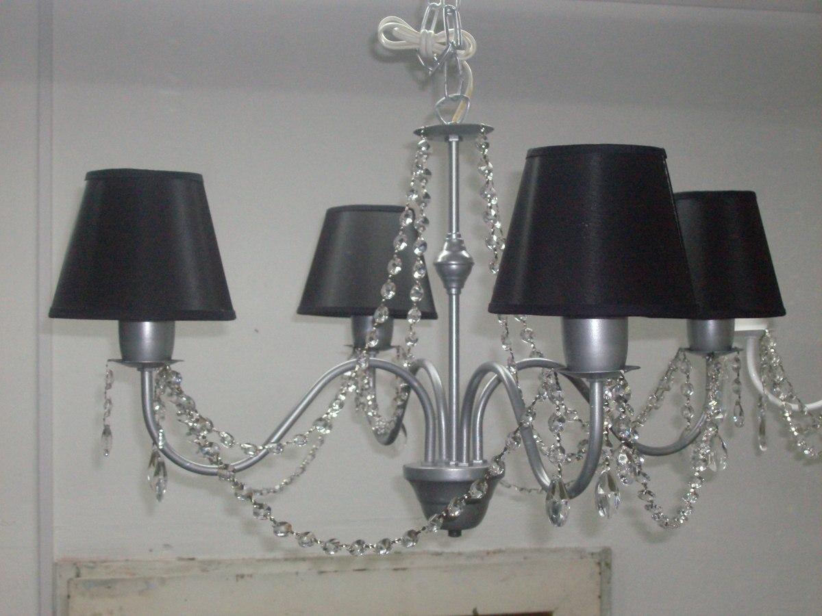 Ara a lampara de techo 4 luces con pantalla de organza - Lamparas arana modernas ...