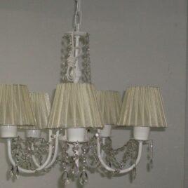 Araña lampara de techo 5 luces pantalla de organza