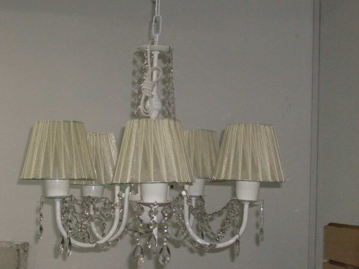 Ara a lampara de techo 5 luces pantalla de organza carjavi - Pantalla lampara techo ...