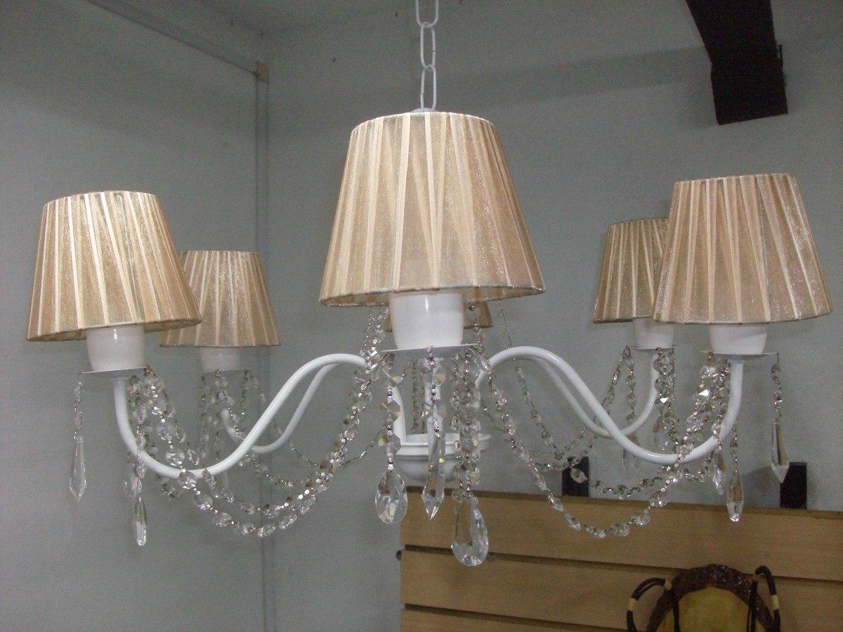 Ara a lampara de techo 5 luces pantalla de organza carjavi - Lamparas de techo con pantalla ...