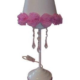 Lampara velador con caireles y flores artesanal