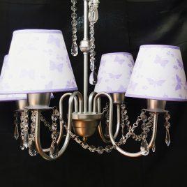 Araña de 4 Luces Con Cairel Color Plata